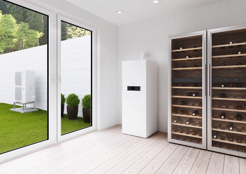 effizientes heizen hybrid kompaktger t nutzt gas und kostenlose w rme aus der au enluft. Black Bedroom Furniture Sets. Home Design Ideas