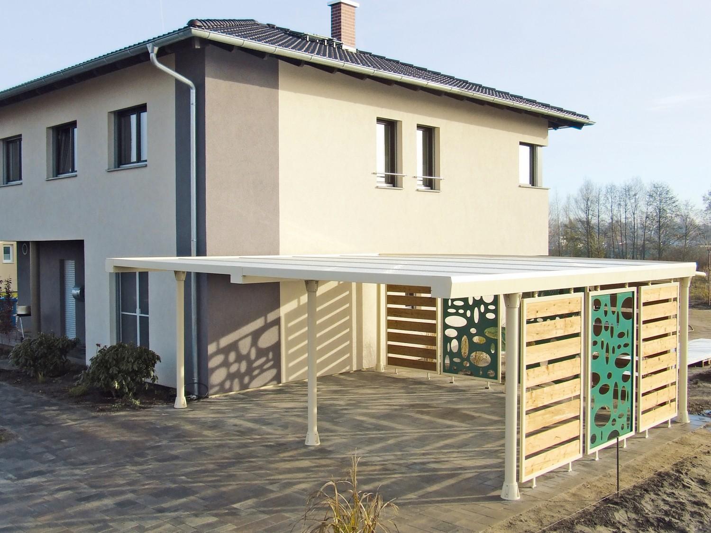 """Rund ums Haus Mülltonnenverkleidung und Carport wie aus einem Guss unter """"www.element13.de"""" - News, Bild 1"""