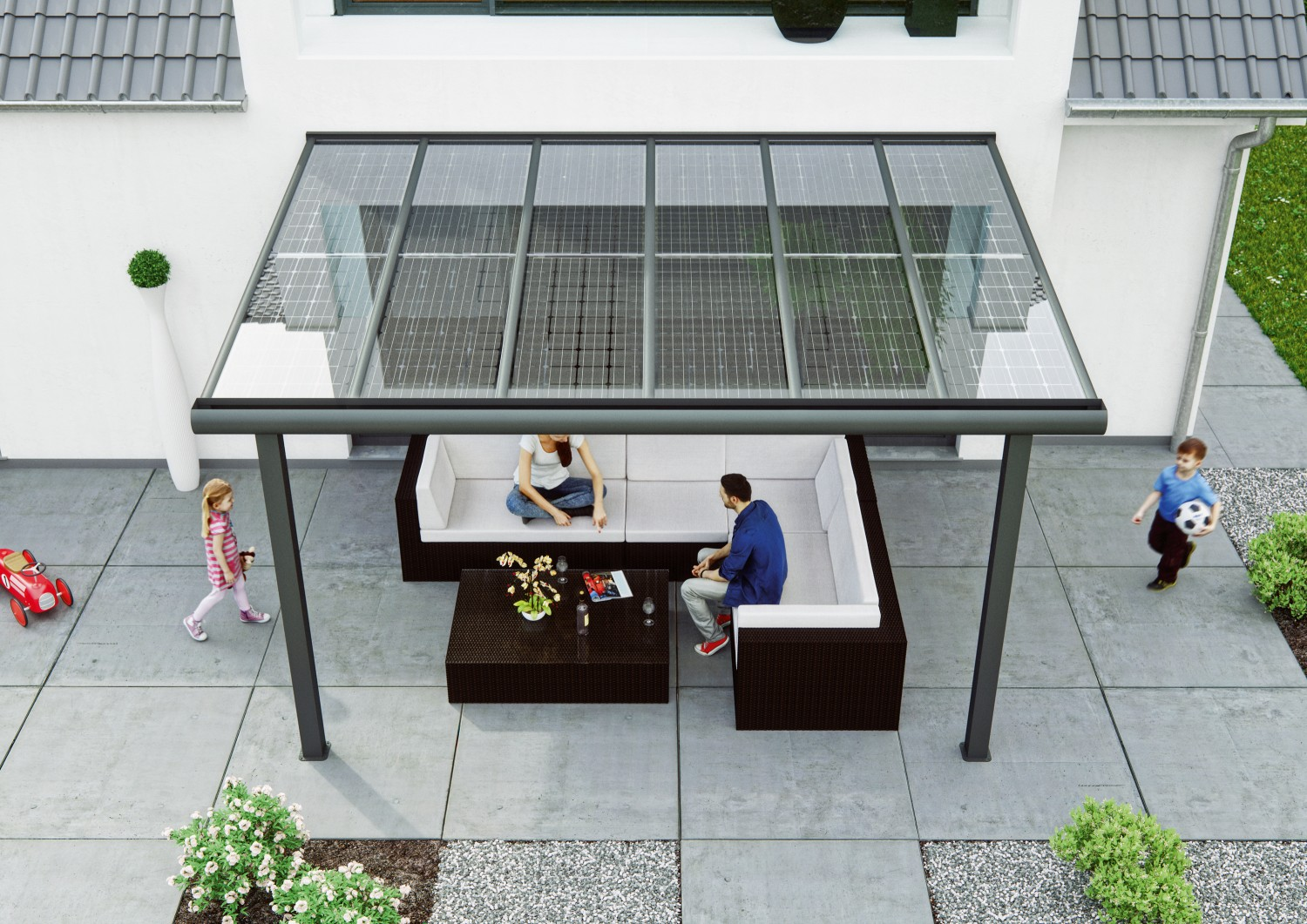 solarmodule von auf terrasse und. Black Bedroom Furniture Sets. Home Design Ideas