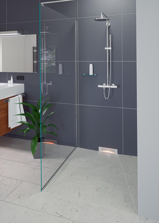 wandablauf aus dem hause kessel f hrt duschwasser praktisch ab bild 1. Black Bedroom Furniture Sets. Home Design Ideas