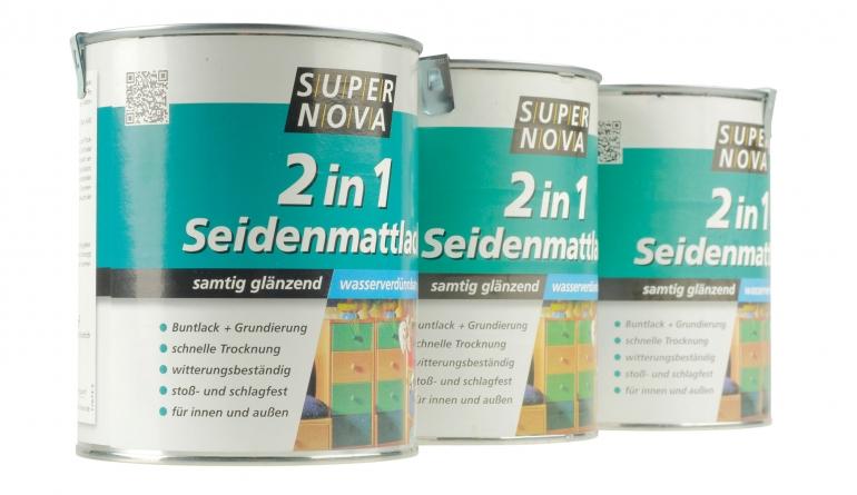 Innenfarben-Wand Super Nova 2in1 Seidenmattlack im Test, Bild 1
